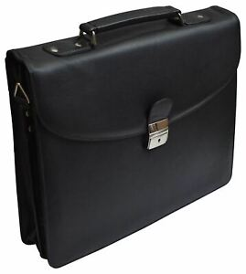 Leather Briefcase for Travel Office Business 15 inch Laptop Messenger Bag Black
