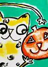 "ACEO Original ""Cat Loves Pumpkin"" Acrylic 2.5 x 3.5 Painting Samantha McLean"