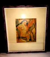 NUDE ABSTRACT ANTHONY VLAHAKIS  Mid Cent Modern Paris France Watercolor