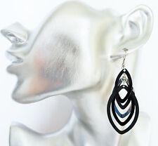 Gorgeous Black Oval Loop Dangle Drop Earrings Silver tone 7 cms Long