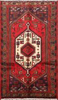 Geometric Tribal Hamedan Hand-Knotted Red/Navy Blue Accent Area Rug Wool 3x5 ft