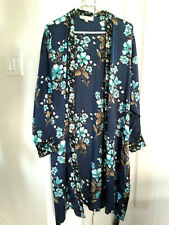 Loft women's satin intimate robe night gown belted long sleeves Floral L