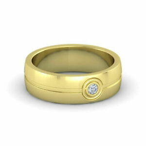 Round 0.09 Ct Diamond Engagement Band For Men's 14K Yellow Gold Size R s T U V