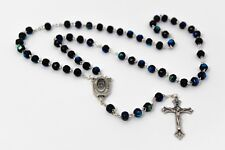 Lourdes Water Black Crystal Rosary Beads & Prayer Card