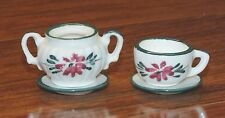 4 Piece Ceramic Small Miniature White & Green Doll Size Tea Cup Set **READ**