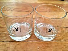 Vintage Playboy Rocks Glasses-Playboy Bunny Logo Rocks Glasses - Pair Of 2