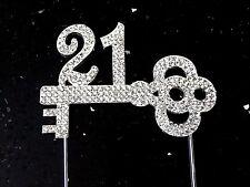 21st Birthday Key Cake Topper Bling Clear Rhinestone Crystal Diamante Silver 21
