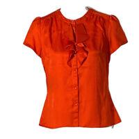 Ann Taylor Loft Womens Top Button Down Ruffles Short Sleeve Work Petite Size MP