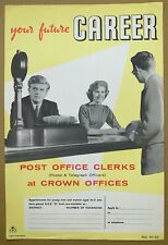 More details for 1950's gpo poster prd 941 (b) - your future career…post office clerks