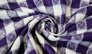 """Tablecloth Checkered Purple W/ Hearts/Clover Fabric 62"""" Premium Soft Made In USA"""