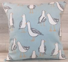 Handmade Cushion Cover - Laridae Seagulls - Duck Egg - Same Fabric Both Sides