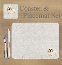 Cavachon,  placemat and coaster set    by Jane Bannon