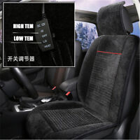 12V Plush Thickening Heated Car Seat Cover Heater Chair Cushion 2 level Black