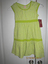 FADED GLORY GIRLS DRESS SIZE 7/8 LIME GREEN STRIPED 100% COTTON NEW WITH TAGS