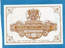SAUTERNES 1ER GCC VIEILLE ETIQUETTE CHATEAU COUTET 1975 75 CL RARE    §14/03/18§
