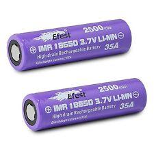2X Efest 18650 2500 mAh Genuine Battery 35 Amp Flat Top High Drain new Box