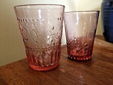 Set 2 Coordinating Anthropologie Pressed Pink Glass Tumblers 1 Med 1 Large