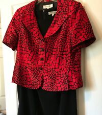 Suit Studio Red Jacket Size 16 and Dressbarn Dress 16W Black Sold As Set.