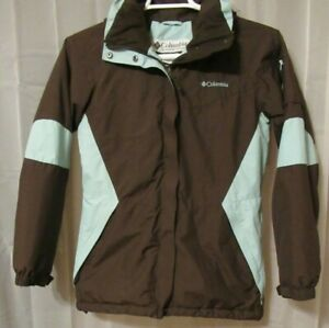 Columbia Fleece Lined Hooded Brown Green Coat Small