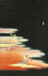 Vintage SILK Japanese Kimono TOMESODE Fabric Double Panel  #440