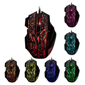 7 Button Pro Gaming Mouse 3200DPI Backlit LED Optical USB Wired for PC Laptop AU