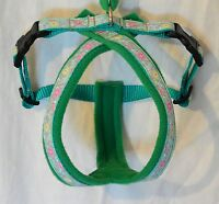 FLEECE LINED DOG HARNESS,FLOWER PRINT, EMERALD - MATCHING LEADS  AVAILABLE