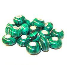 Malachit Rekonstruiert 925 Sterling Silber Bead Beads Donut Edelsteine Charme