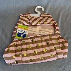 Pink Gold Polka Dot Stripe Coat for Dogs Sz Med