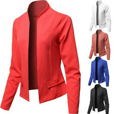 Women Plus Size Solid Open Front Cardigan Long Sleeve Casual Jacket Coat Blazer
