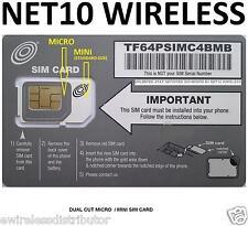 Net10 Dual Sim Card Icro Sim Card Mini Sim Card Brand New! At&T Network