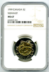 1999 CANADA $2 TOONIE NGC MS67 NUNAVUT TOP POPULATION=4 NONE HIGHER RARE