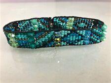 New SANTA FE Czech Glass Beaded TURQUOISE, BLUE, BLACK Cuff Bracelet
