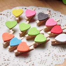 10*Pinces couleurs vives bois coeurs aimable portable carton attrayant cadeau