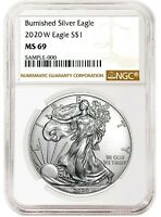 2020 W Burnished Silver Eagle NGC MS69 - Brown Label