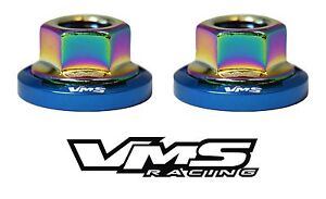 6 VMS RACING STRUT TOWER DRESS UP BLUE WASHERS & NEOCHROME NUTS FOR SUBARU