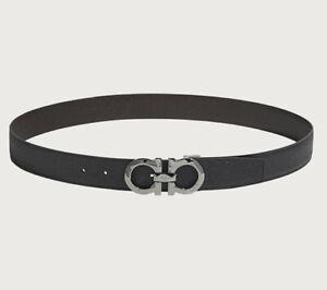 NEW Salvatore Ferragamo Mans Leather Silver Buckle Belt Black/Brown Reversible