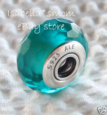 NEW Authentic PANDORA Faceted FASCINATING TEAL Murano Glass Charm~Bead 791606