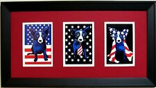 "GEORGE RODRIGUE PATRIOTIC NOTECARD TRIO - 22"" x 12"" - RED / WHITE MATTING"