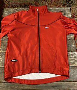 Mens XL 50 Red Santini SMS Full Zip Cycling Jersey Jacket Road Windstopper