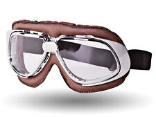 IV2 Brown PU-Leather Motorcycle Goggles | AntiScratch, 100%UV, Helmet Compatible