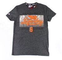 Superdry Mens T-Shirt Gray Size 2XL Crewneck Logo Graphic Printed $34 221