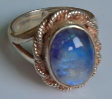 Sterling Silver Ethnic Asian Vintage Style Rainbow Moonstone Ring Size M1/2 Gift