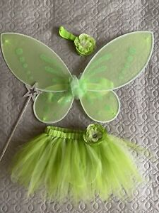 Girls Disney Fairy Tinkerbell Costume Kids Fancy Dress Childs Costume 1-2 Years