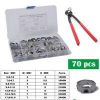 70* Stainless Steel Single Ear Stepless Hose Clamp + Plier Kit 7 Assortment Ring