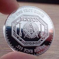 1 Troy oz .999 Fine Silver Round Coin Bar Bullion / Freemason Mason FreeMasonry