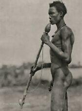 1920s Original AFRICA Male Nude Black Dinka Warrior Smoking BERNATZIK Photo Art