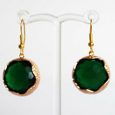 Gold Green Round Faceted Crystal Earrings