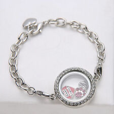 New Diy Photo Frame Bracelet Living Memory Locket Floating Silver Chain Jewelry
