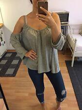 Gina tricot cut out tunika shirt grau xs s m schulterfrei Bluse top