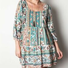 Umgee Mixed Floral Paisley Print Baby Doll Tunic Mini Dress Size Large